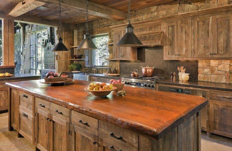 Desain dapur kayu penuh yang istimewa