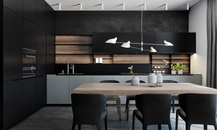 desain dapur bernuansa hitam