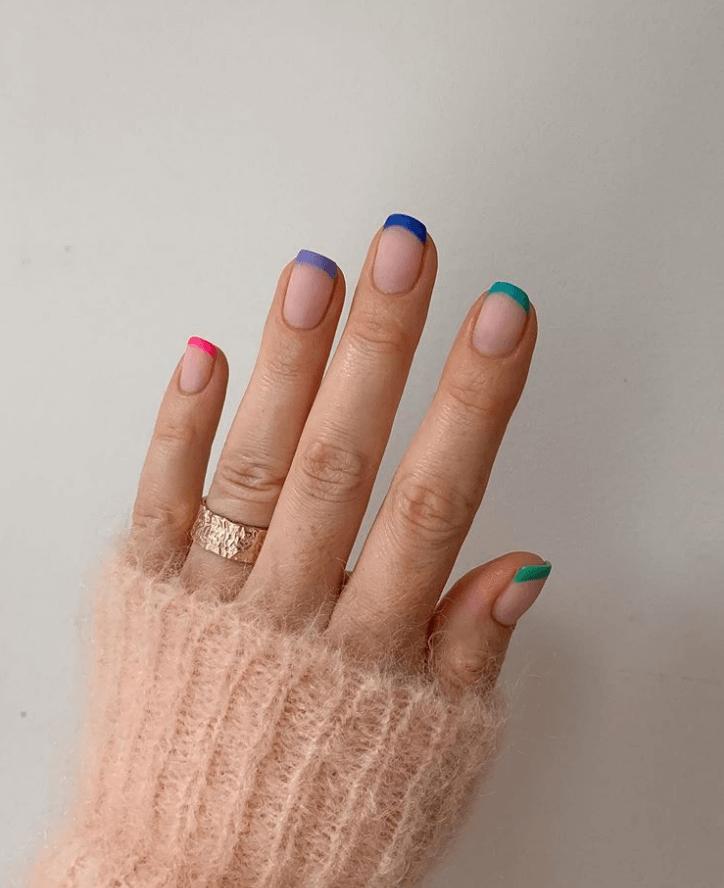 Nails Art design Colorful Tips