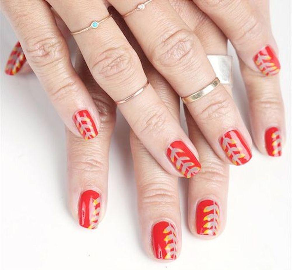 Nails art design Festive Leaves