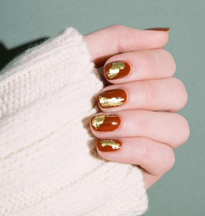 Nails Design ideas gold foil