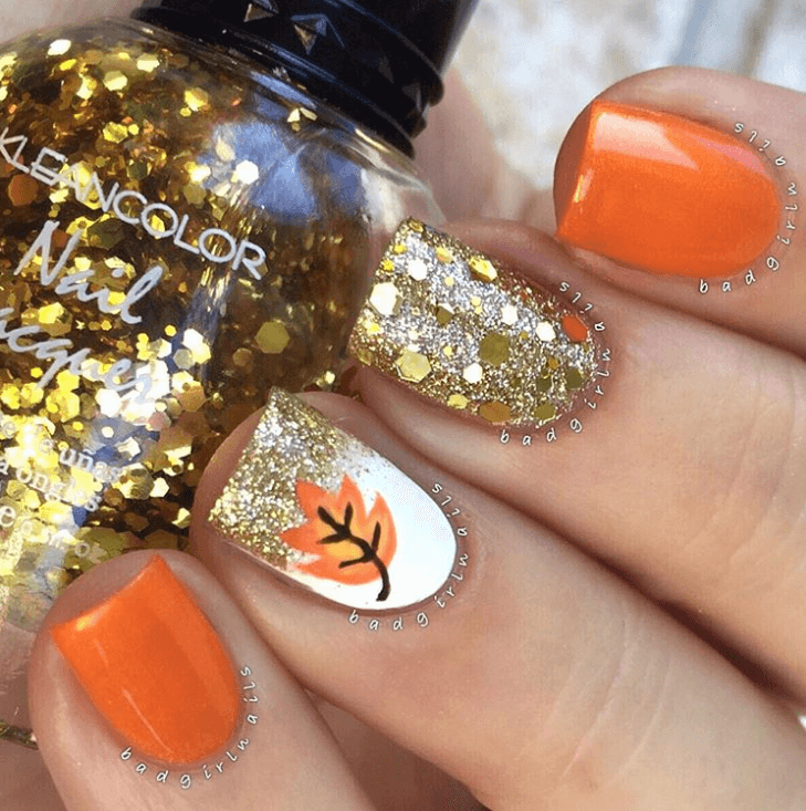 Leafy Accent Nail design ideas
