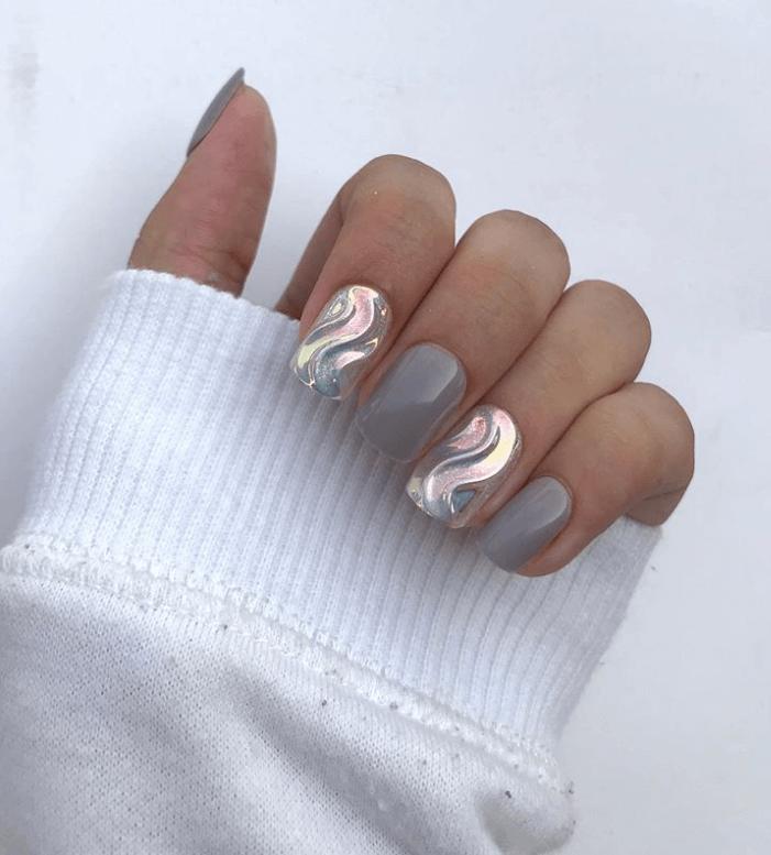 Metallic Gray Nails Art Design Ideas