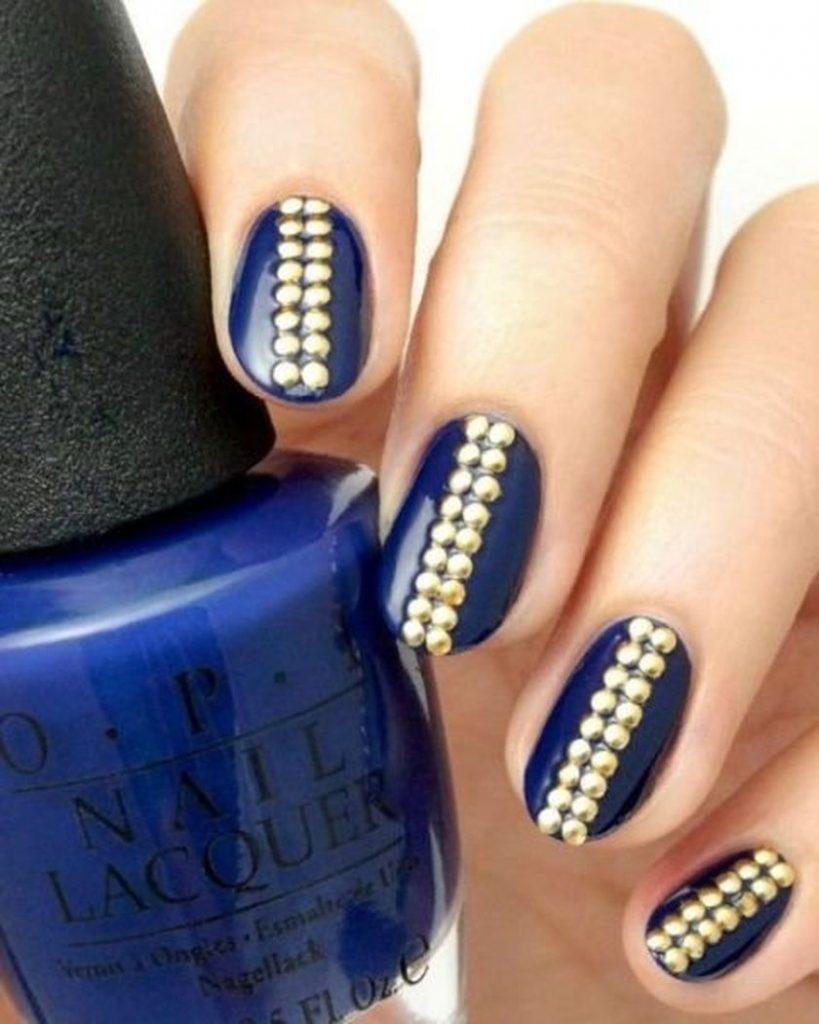 Navy Studs Nails Design