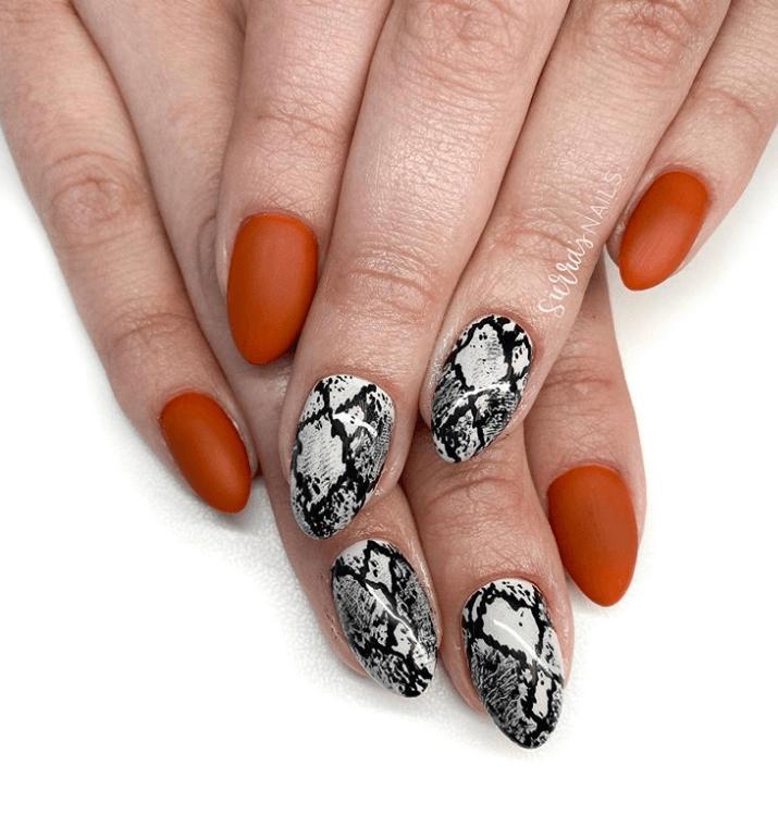 Snake Skin Nails Art Design Ideas