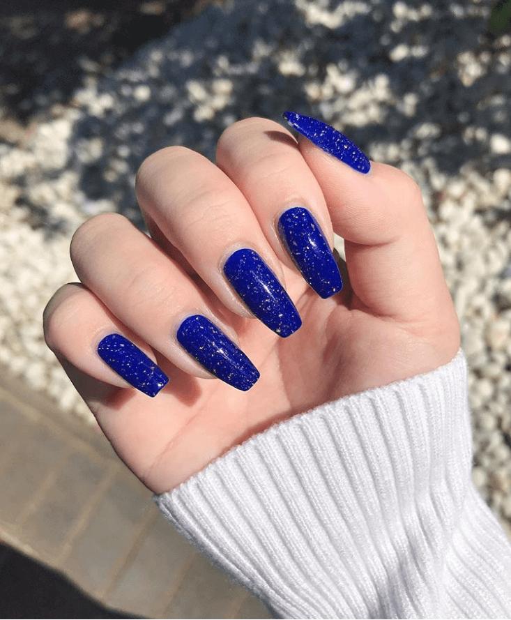 Sparkling Navy Nails Design