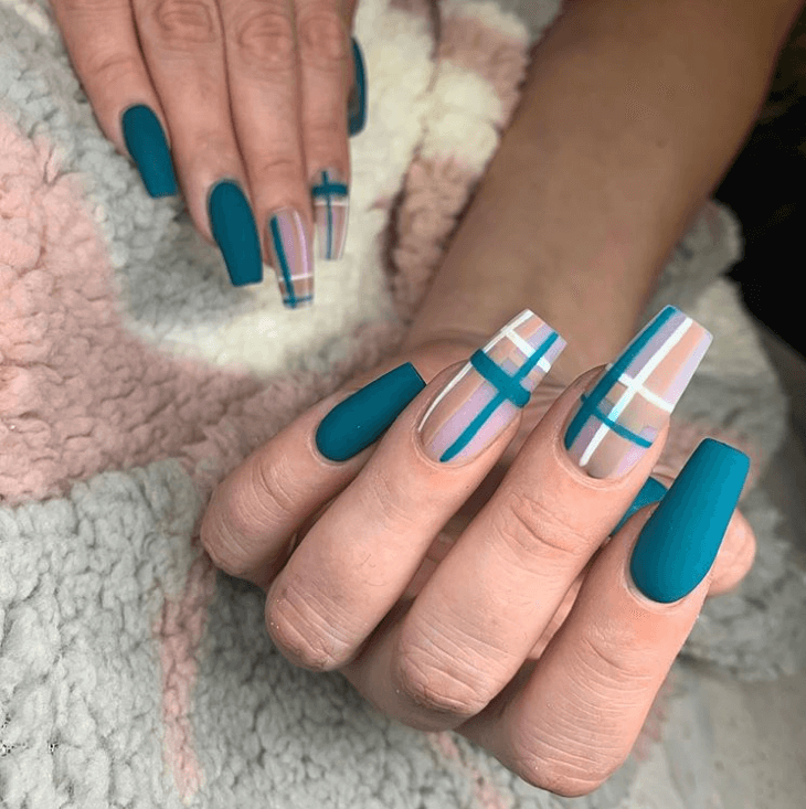 Plaid nails art design ideas
