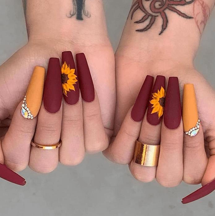 sunflower nails design ideas